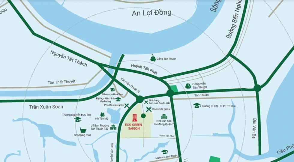 Khu đô thị Eco-Green Saigon được bao bọc bởi hàng loạt tiện ích công cộng
