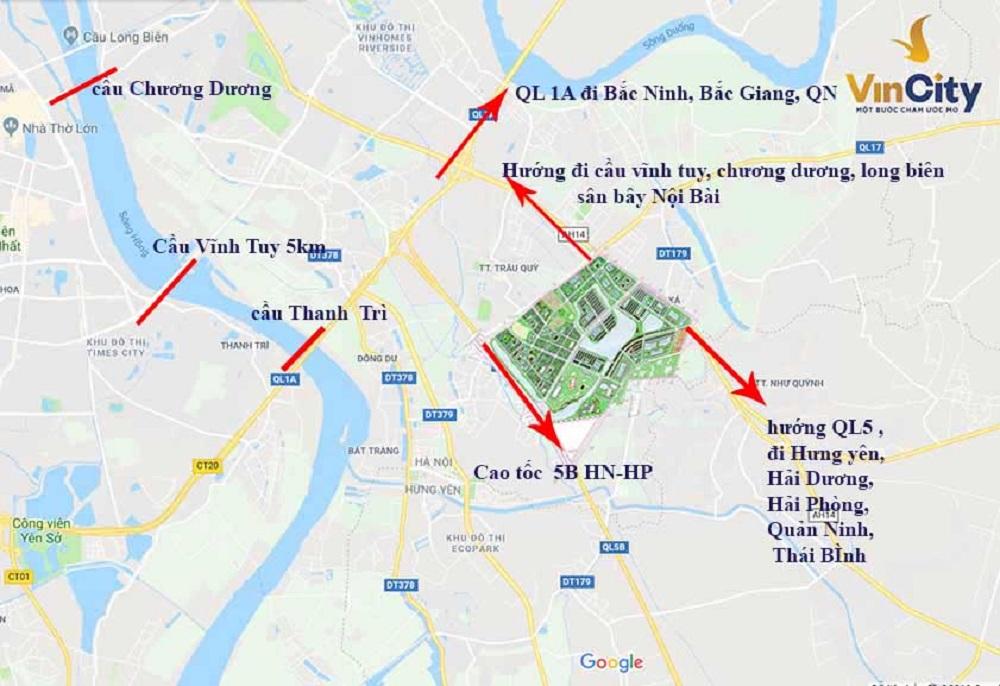 Vị tri dự án khu đô thị Vincity Ocean Park Gia Lâm, Hà Nội.