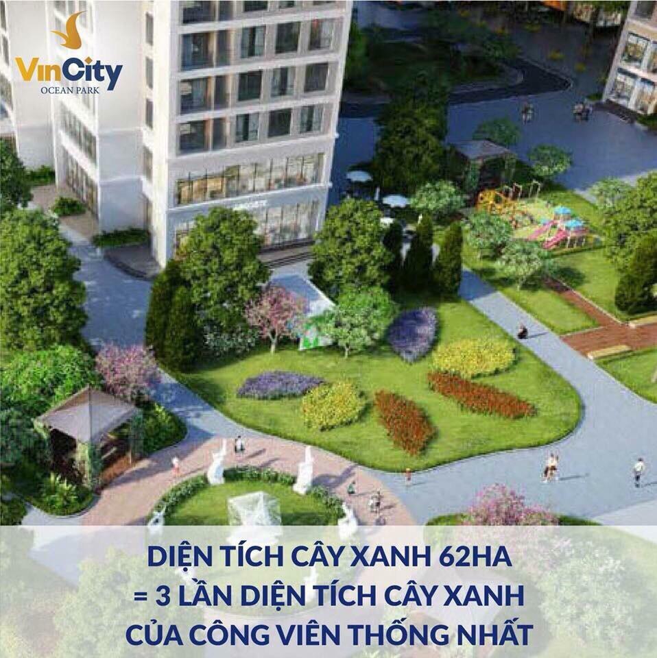 Diện tích cây xanh tại khu đô thị Vincity Ocean Park