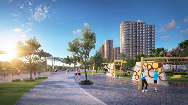 Công viên gym (thể dục tập máy) ngoài trời với xen kẽ không gian xanh sẽ là không gian lý tưởng cho các hoạt động vui chơi giải trí, rèn luyện thể chất của cư dân tương lai.