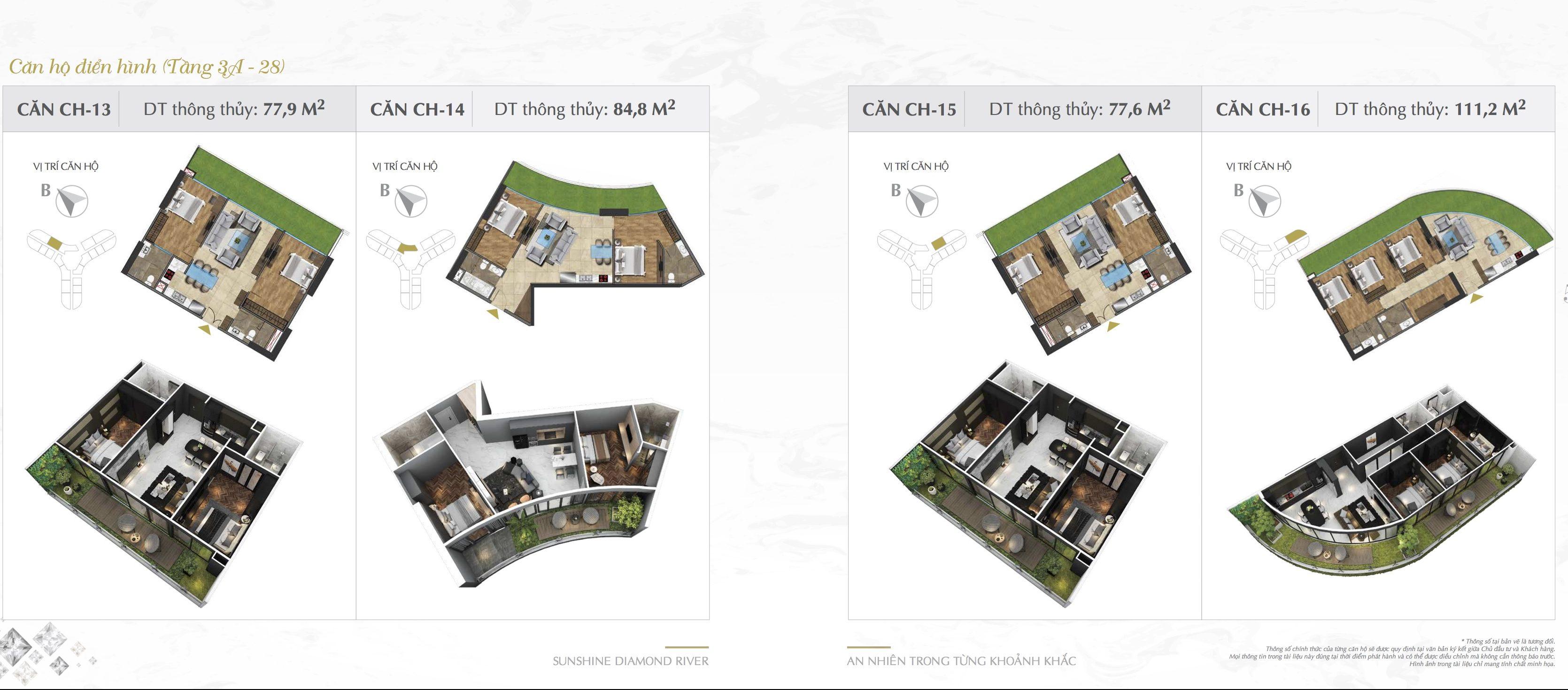 Thiết kế căn hộ Sunshine Diamond River 13-14-15-16.
