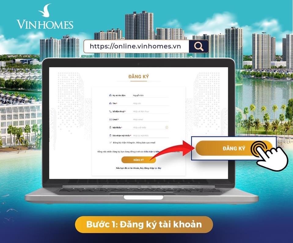 Hướng dẫn Đăng ký tài khoản Vinhomes Online