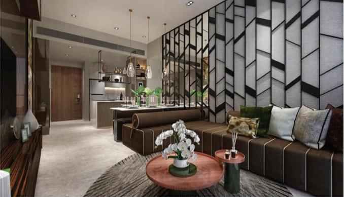 thiết kế phòng khách căn hộ The River Thủ Thiêm