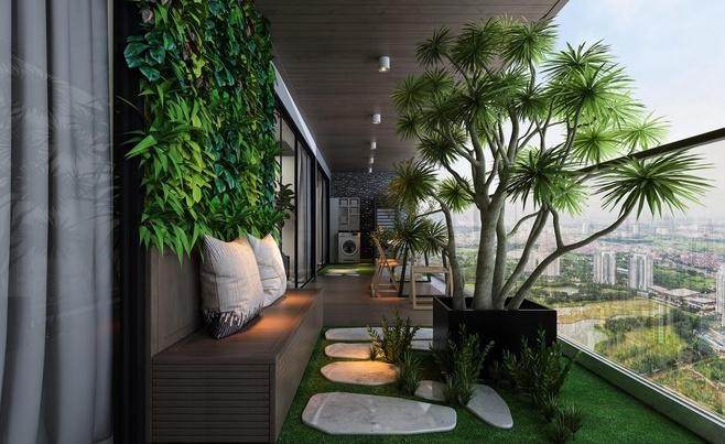 sân vườn căn hộ Tropica Oasis