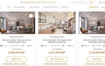 Sàn giao dịch bất động sản trực tuyến của Vinhomes