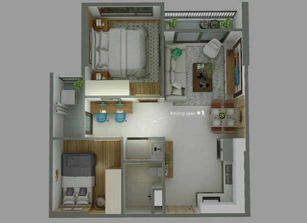 căn hộ 1 phòng ngủ +1 Vinhomes