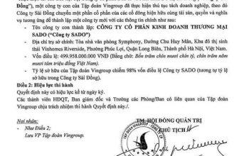 Phạm Nhật Vượng ký quyết định thành lập công ty SaDo