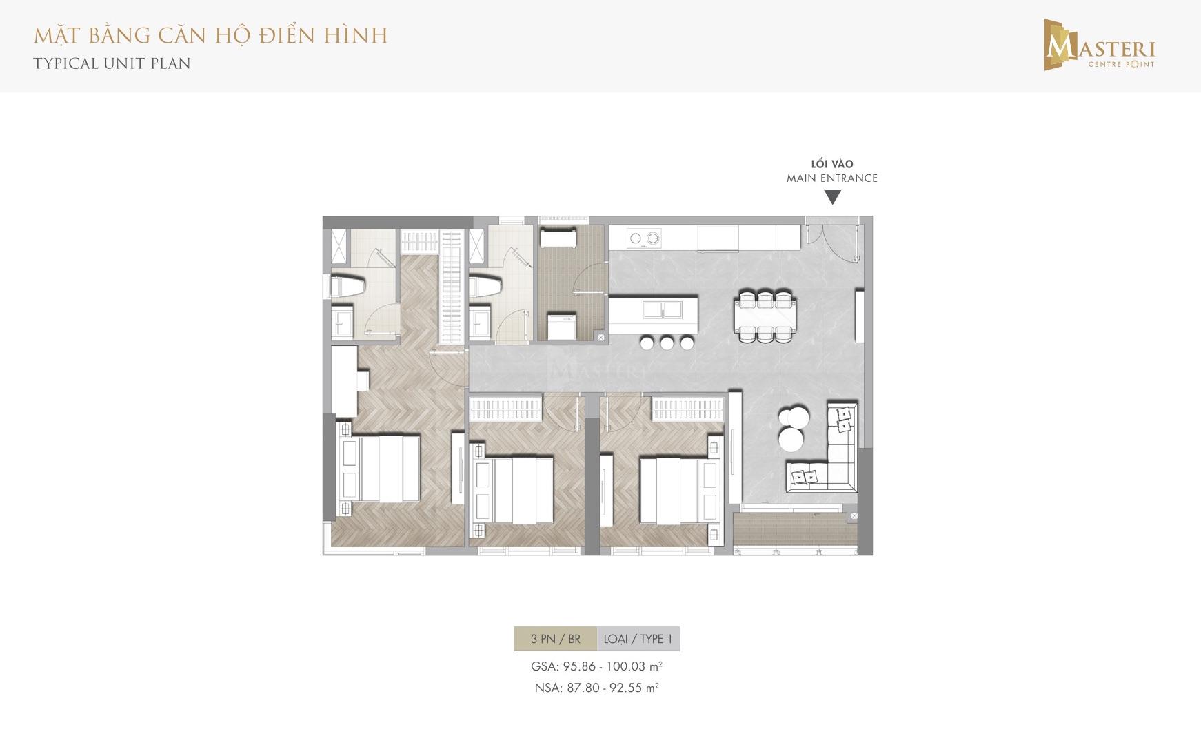 Layout mặt bằng thiết kế căn hộ Masteri Centre Point