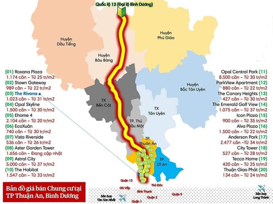 giá bán 20 dự án căn hộ tại thành phố Thuận An - Bình Dương