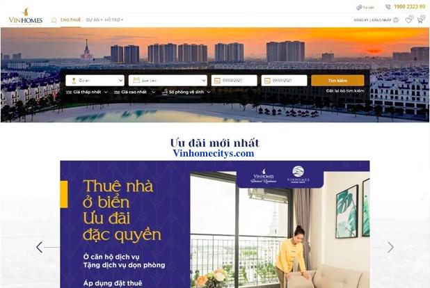Sàn giao dịch trực tuyến thuê nhà Vinhomes